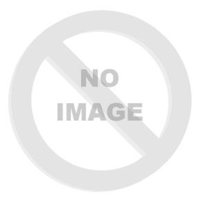 Obraz 1D panorama - 120 x 50 cm F_AB41448704 - Santorini with boat on white roof against sunset in Greece
